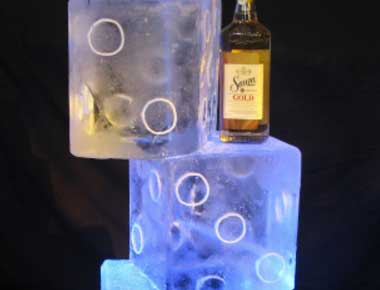 Picture of a dice shaped ice sculpture