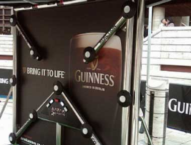Image of the batak wall at a drinks promotion.