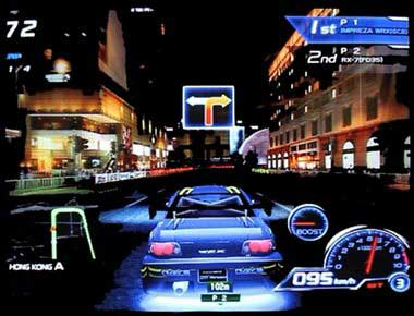 Graphics of Sega R Tuned car driving at night