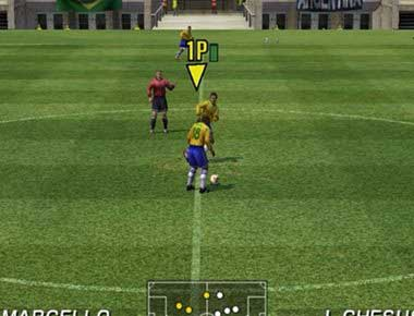 Virtua Striker players kicking off