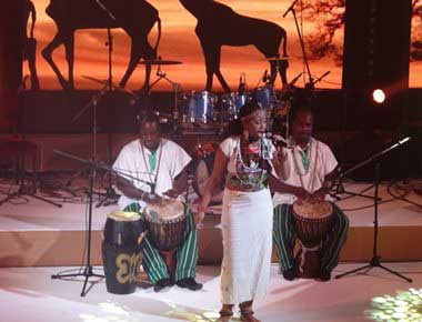 African Band and Dancer