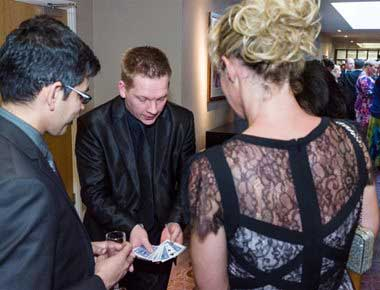 Magician doing card tricks