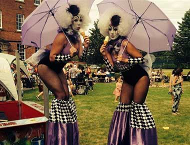 Ladies stiltwalking