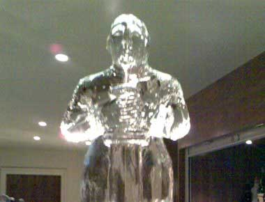 Image of a Hollywood statue ice sculpture
