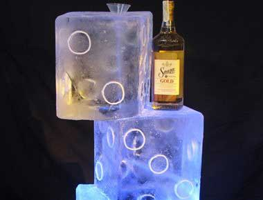 Picture of giant dice ice sculpture