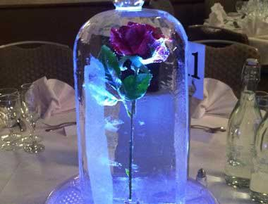 A rose inside an ice sculpture