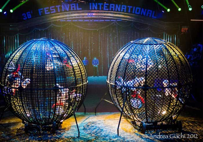 Two globes of death at an event