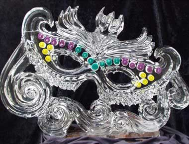 Picture of a masquerade ball ice sculpture