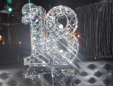 Image of an 18th birthday ice sculpture