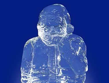 Picture of a father christmas ice sculpture