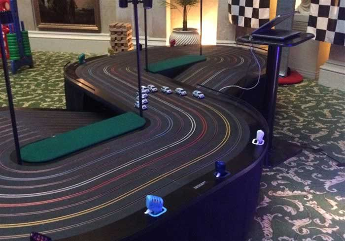Eight lane scalextric for team building