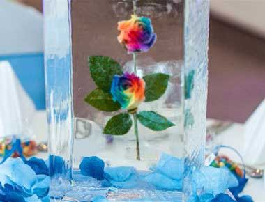 A flower frozen in an ice sculpture