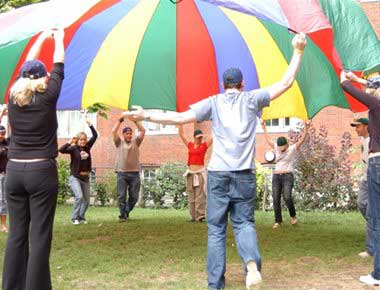 team building workshop with huge parachute