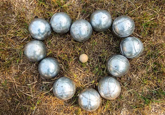 Boules on grass