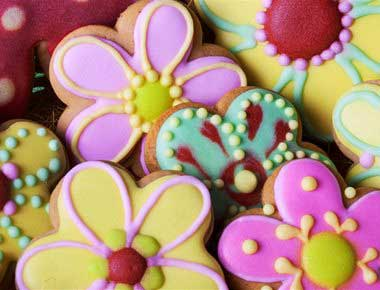 Decorated cookies with icing