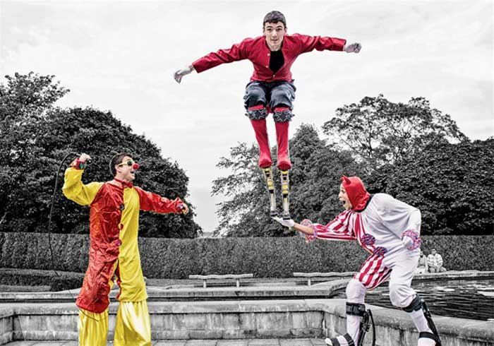 Men on Bouncy Stilts