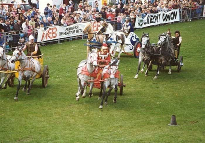 Chariots racing in a field