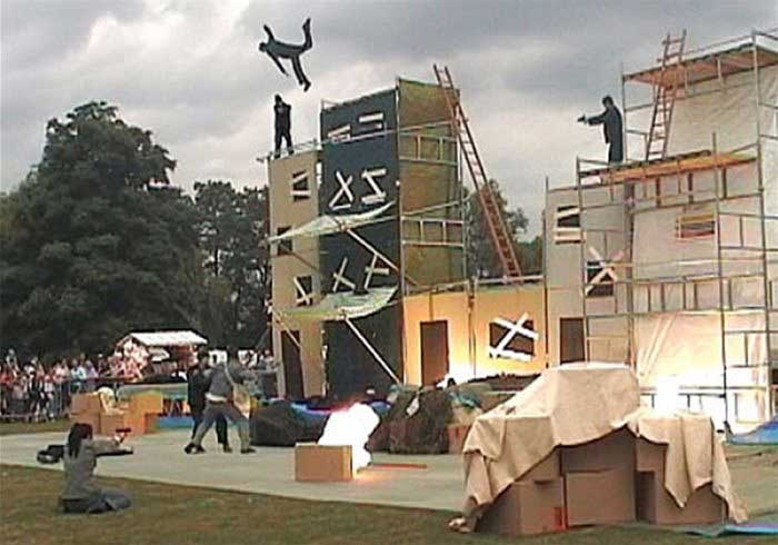 Stuntman diving off a building