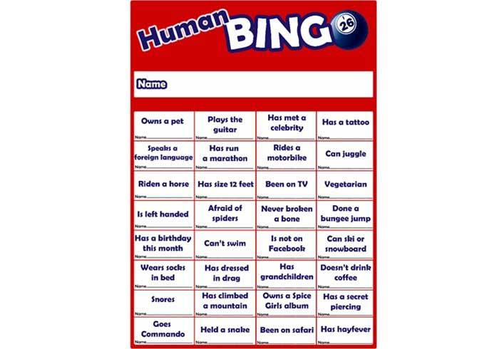 Team Building Games Human Bingo