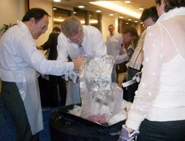 Ice sculpting at a team building event