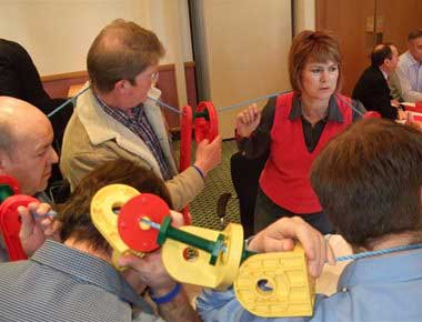 People playing a team building game