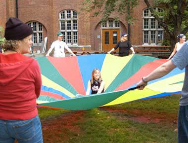 Fun team building parachute