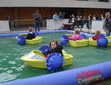 Paddle Boats in inflatable pool