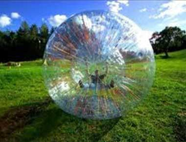 Zorb ball in a field