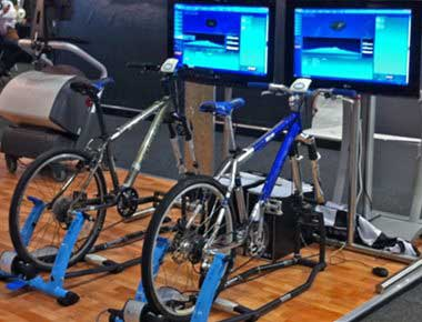 Bike simulators at an exhibition