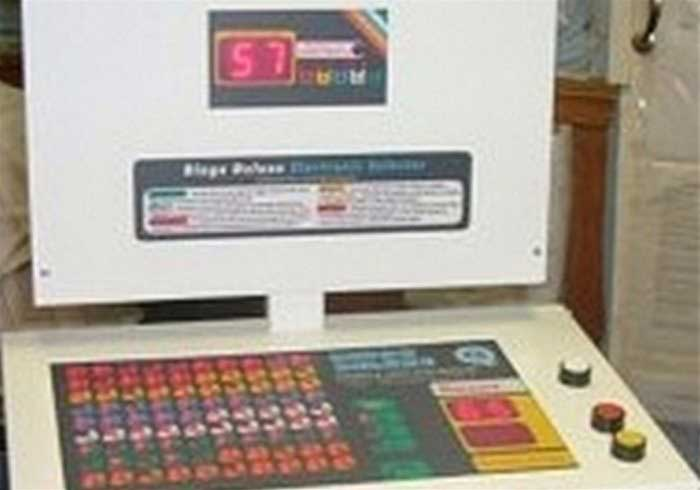 The front of the electronic bingo machine