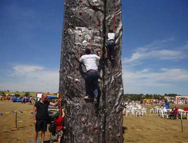 Man climbing a portable wall