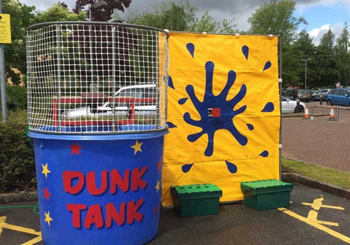 Dunk Tank ready to be used in a car park