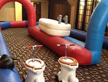 Toilet Racing Set up and inflatable