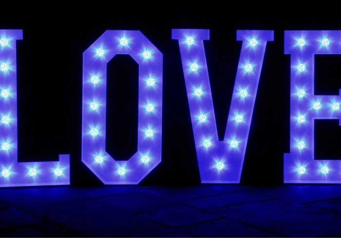 Love Letters in Blue LEDS