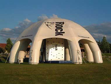 Rotating Climbing Wall under an inflatable tent