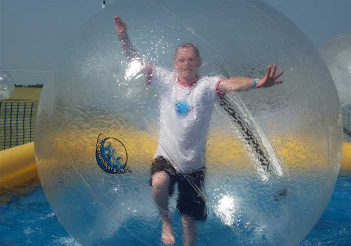 Man on water in a zorb ball