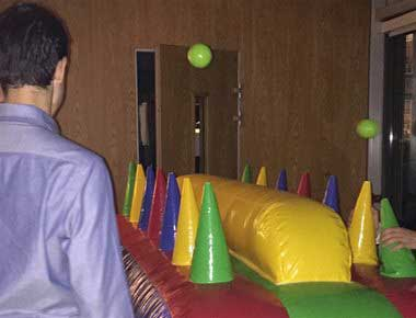 Fun inflatable ball balancing game