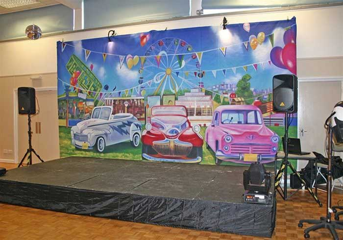 Grease backdrop